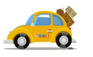 黄色汽车行驶的动画flas