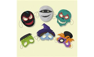 6款创意万圣节面具矢量素