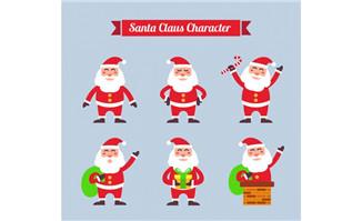 6款笑脸圣诞老人矢量素材