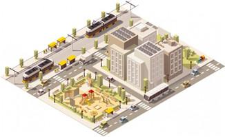 矢量图3d素材城市道路楼房