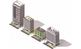 高层城市3d建筑图片矢量图