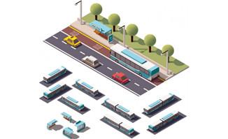 公交车绿化3D模型建筑图片