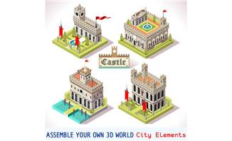 3d模型建筑素材灰色城堡设