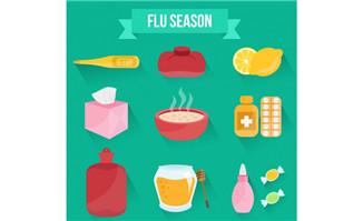 9款创意流感季图标矢量素