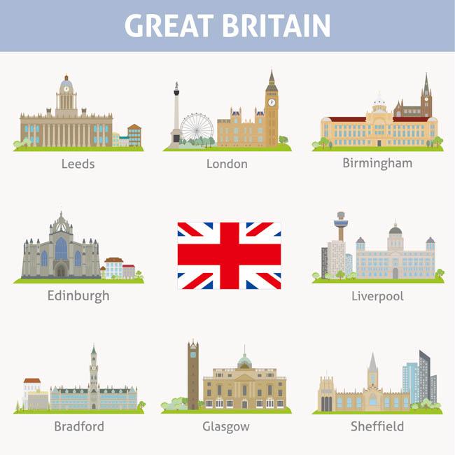 英国城市地标建筑插图图片矢量图素材下载