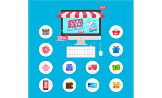 12款扁平化网络购物图标矢
