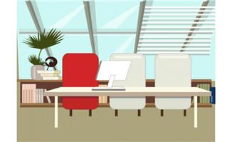 扁平化设计办公室场景矢