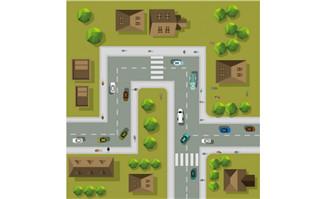 矢量城市和汽车图片矢量