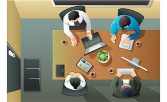 商务人物办公场景矢量图 矢量人物与卡通 矢量素材