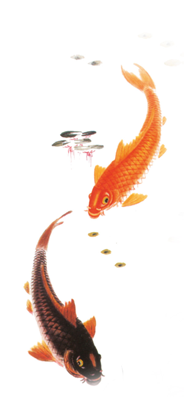 水墨风格鲤鱼免抠图素材下载