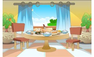 窗户边的餐桌场景flash动画