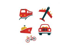 扁平化各种交通工具矢量