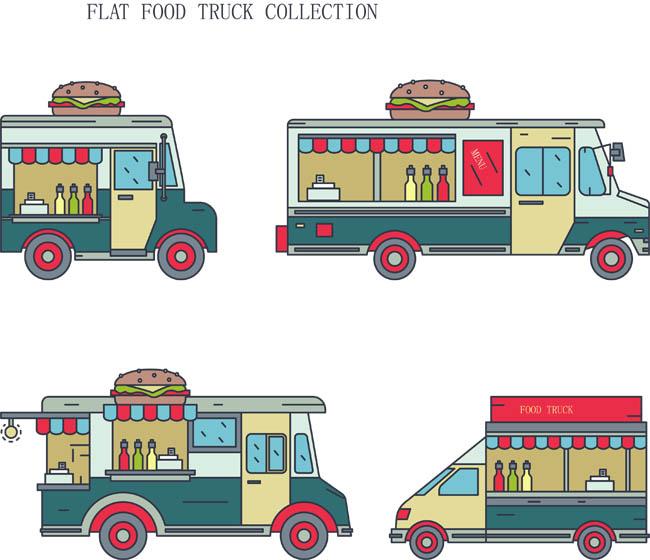 扁平化描边风格流动快餐车矢量图素材