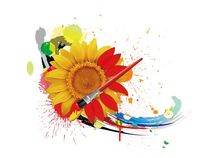 水彩和向日葵矢量图素材