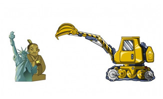 挖挖机把古物挖走的动画