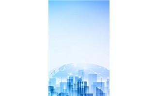 浅蓝色渐变扁平城市科技
