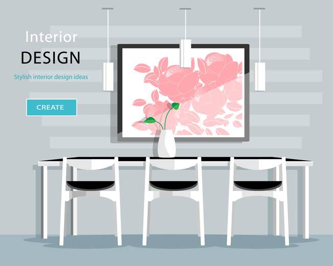工作台家庭室内房间装饰设计卡通矢量   椅子  桌子 餐桌 客厅场景
