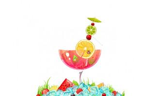 夏日凉爽冰饮冰块元素