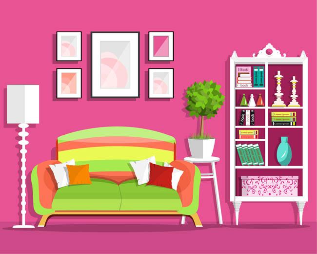 家庭室内房间装饰设计卡通矢量素材图片