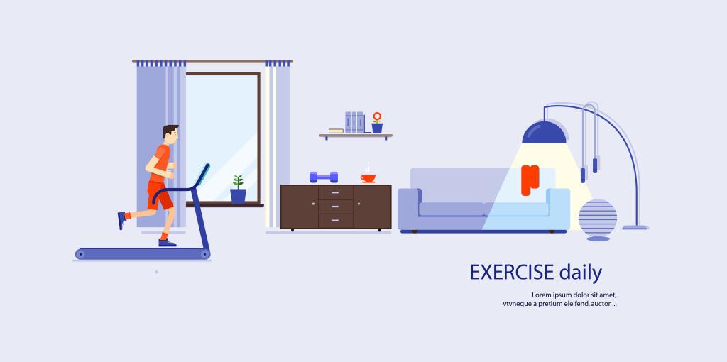 健身场景卡通矢量素材矢量图素材