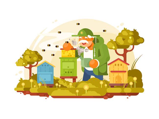 养蜂的老爷爷店面卡通矢量扁平化v店面素材粉螺丝室内设计图片