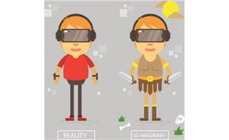 扁平化男孩虚拟游戏体验
