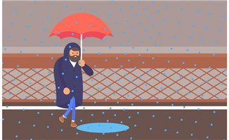 MG创意动画素材下雨天掉坑