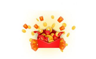 红包飞渐金币设计图素材