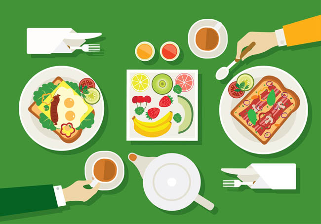早餐扁平插画矢量图素材