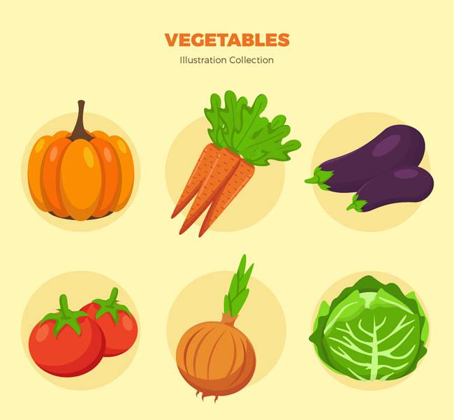 6款常见彩色蔬菜矢量素材_flash二维动画素材mg动画图