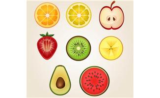 8款水果切面设计矢量素材
