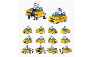 等距出租车图标图片矢量