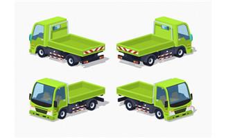 卡通绿色货车图片