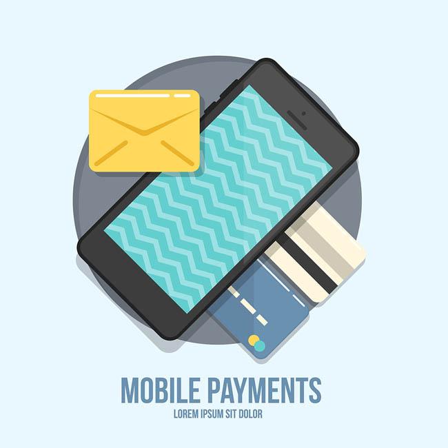 扁平化卡通图片   手机 银行卡素材  矢量图素材  扁平化设计素材