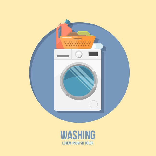 洗衣机扁平化卡通矢量图素材