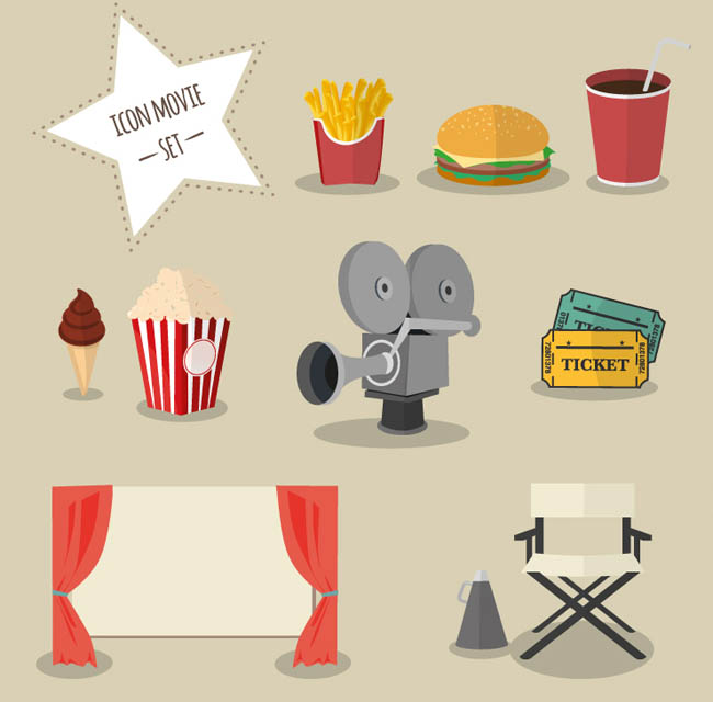 9款卡通电影元素图标矢量素材   扁平化电影元素  幕布   电影院
