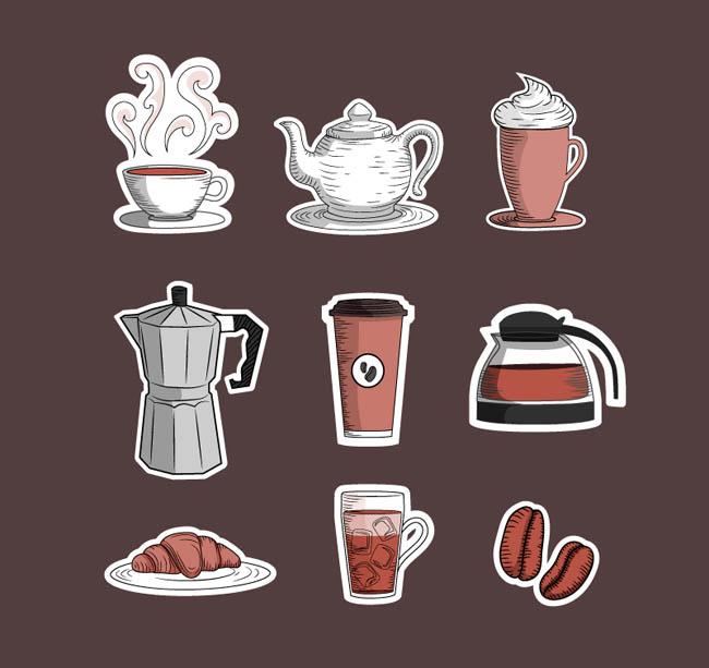 9款纸质咖啡图标矢量素材_flash二维动画素材mg动画图