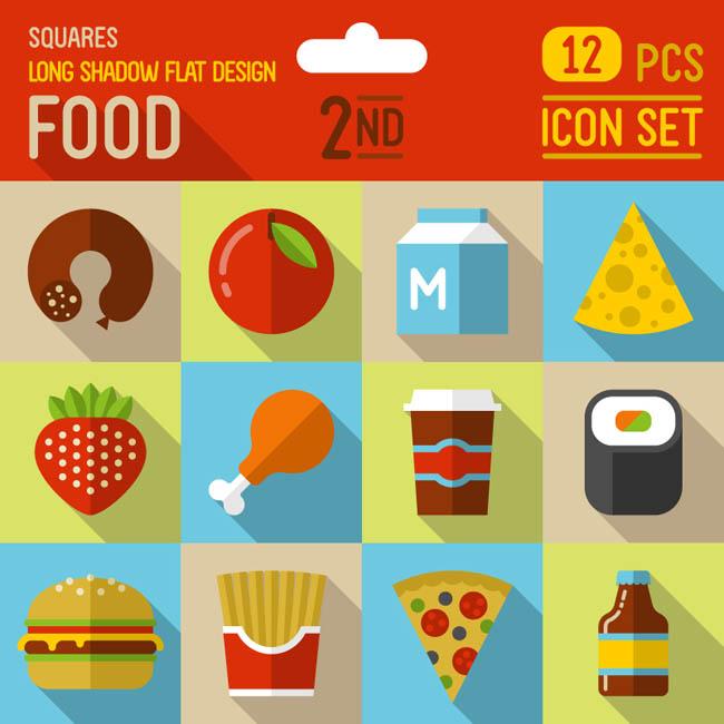 12款扁平化食物图标矢量素材   汉堡 草莓 鸡腿  快餐店食品  矢量