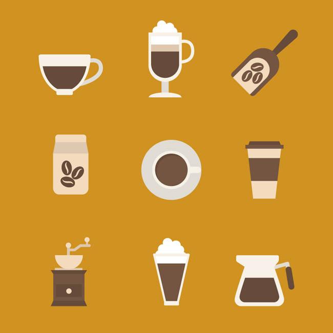 9款扁平化设计咖啡元素图标矢量素材_漫品购_mg动画