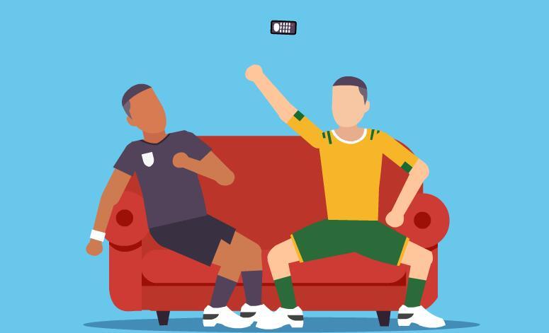 2个扁平化人物在沙发上打逗玩手机mg动画flash动画素材    扁平化