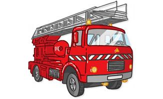 描边矢量图设计消防车素材下载
