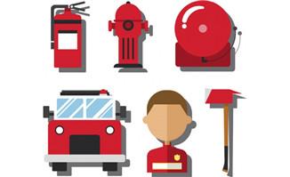 矢量消防素材扁平化设计素材