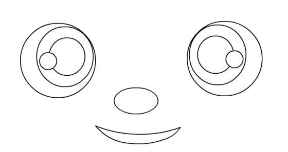 七:再新建一个图层绘制眼睛和鼻子,嘴巴,眼睛可以用前面的办法,先