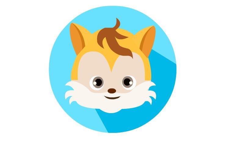 扁平化小松鼠素材可爱的松鼠扁平化头像图标