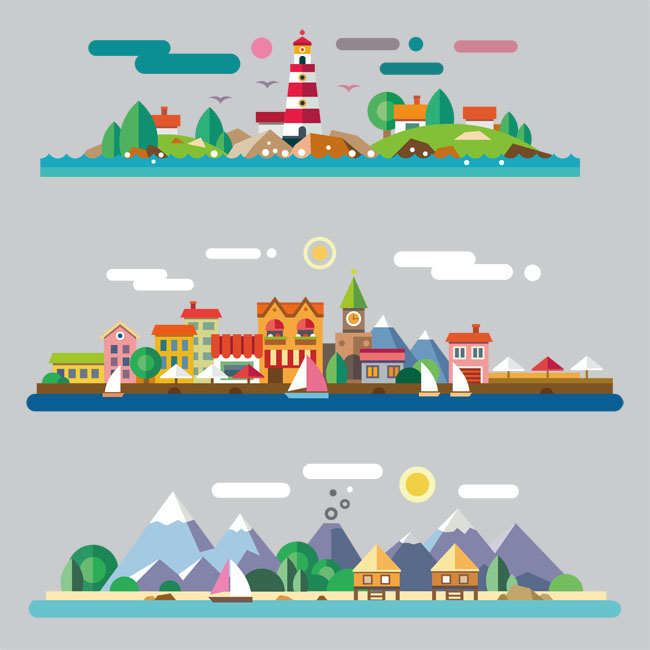 扁平化城市风景建筑场景设计矢量图素材