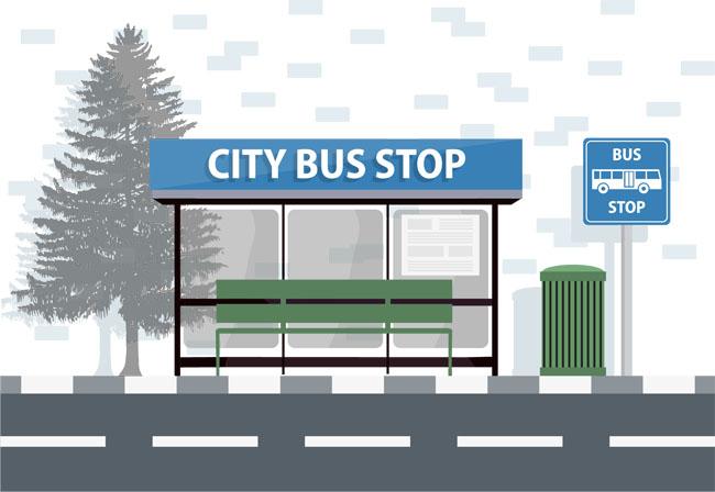 国外矢量图扁平化设计公交车站素材   马路  扁平化公交车  矢量图