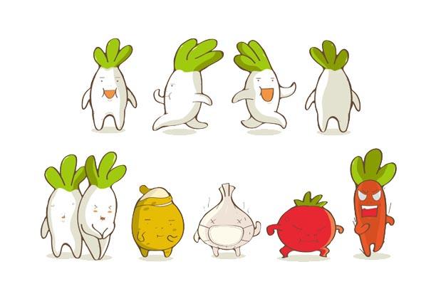 萝卜卡通形象设计表情设计图标素材下载