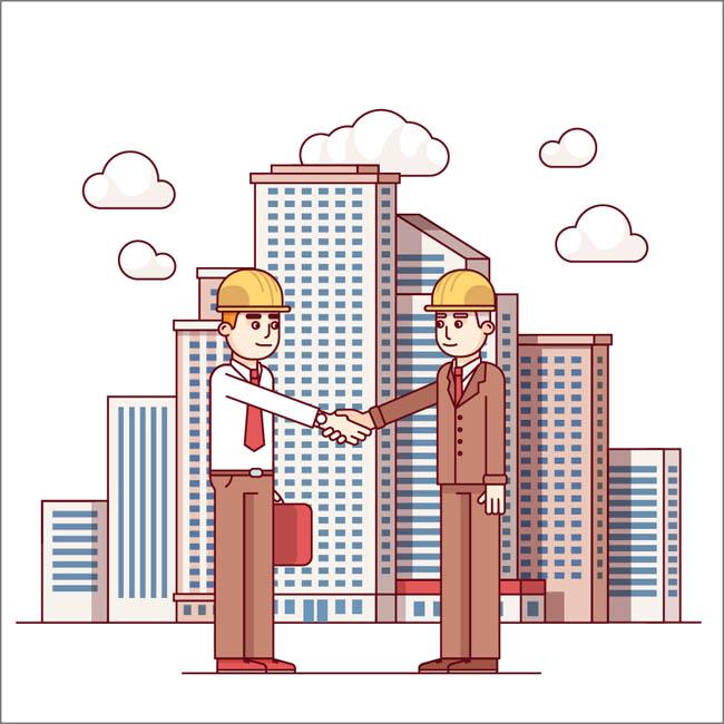 扁平化2个工程师握手的场景素材