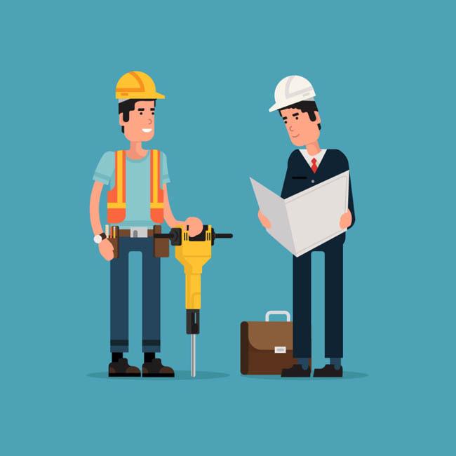 扁平化建筑工程师 工地工人 测量 矢量图素材