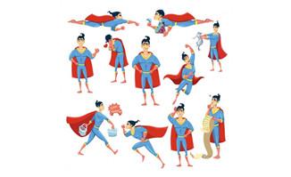 扁平化超人各种动作设计